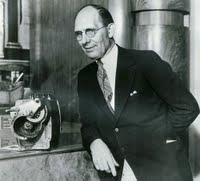 Charles F. Kettering, pictured with his first electric starter.