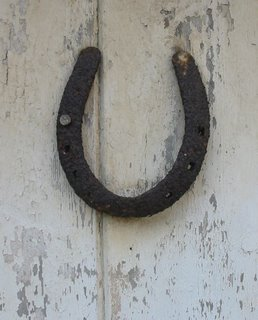 Horseshoe on door for luck