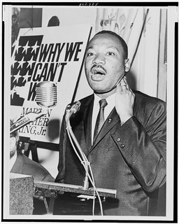 Martin Luther King, Jr. at a press conference