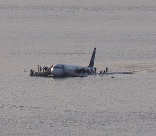 US Airways Flight 1549 afloat on the Hudson River