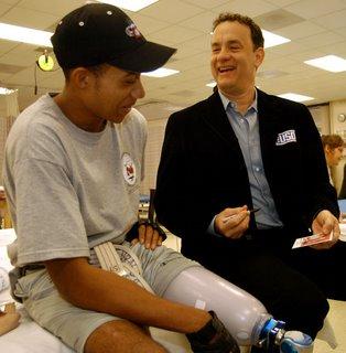Tom Hanks visits a hospital in 2004