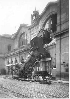 Train wreck at Montparnasse, France, 1895