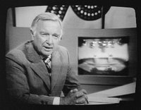 Walter Cronkite (b. 1916) on television during 1st presidential debate between Gerald Ford and Jimmy Carter, Philadelphia, Pennsylvania, on 23 September 1976