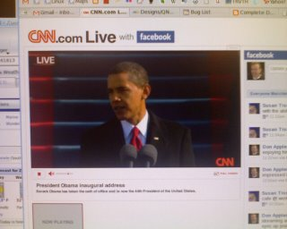 Video image of the Obama inauguration captured live